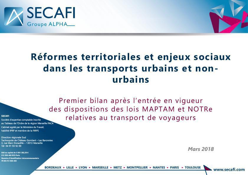 Réformes territoriales et enjeux sociaux dans les transports urbains et non- urbains