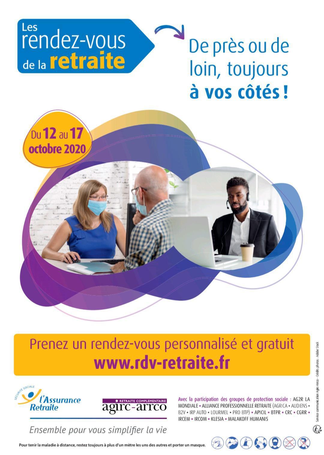 6 e édition des Rendez-vous de la retraite du 12 au 17 octobre 2020 organisée par l'Agirc-Arrco et l'Assurance retraite.