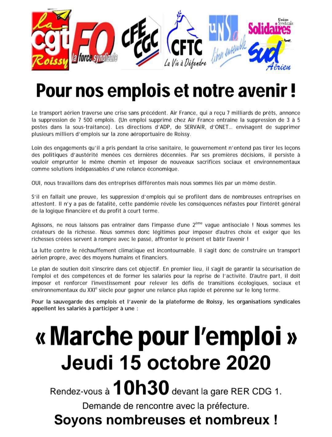 Aérien: Marche pour l'emploi JEUDI 15 OCTOBRE 2020 10H30.