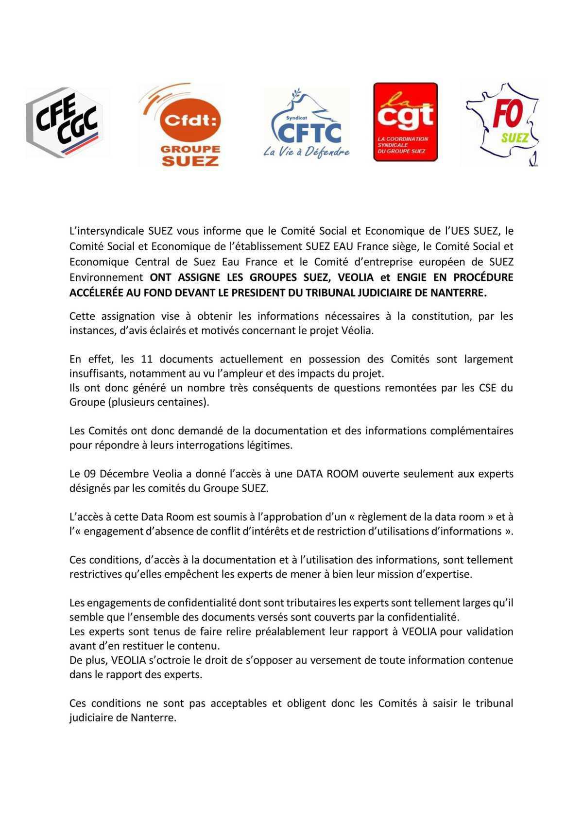 CDP / ASSIGNIATION DES GROUPES SUEZ, VEOLIA et ENGIE EN PROCÉDURE ACCÉLERÉE AU FOND DEVANT LE PRESIDENT DU TRIBUNAL JUDICIAIRE DE NANTERRE.