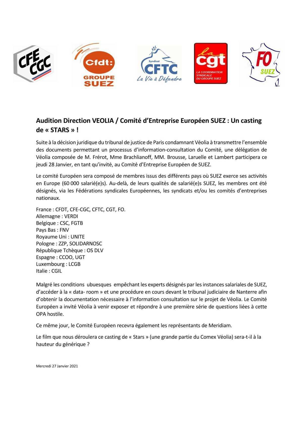 Audition Direction VEOLIA / Comité d'Entreprise Européen SUEZ : Un casting de « STARS » !