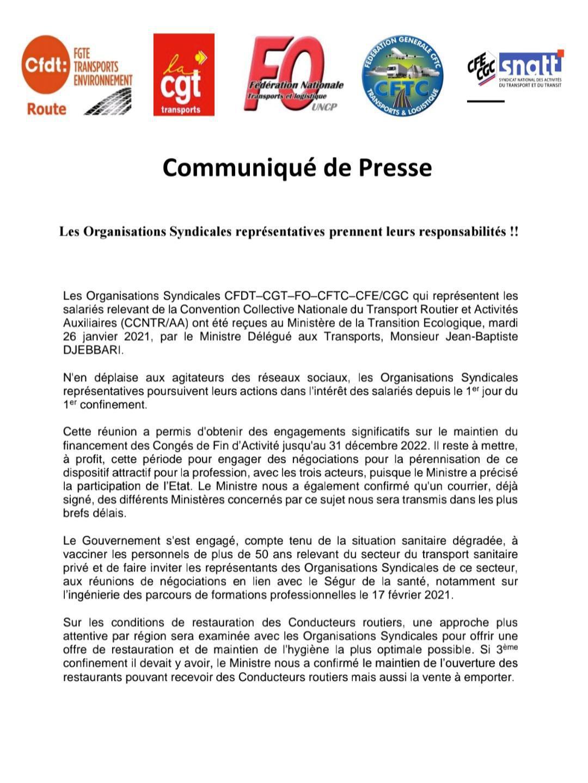 Communiqué de Presse Les Organisations Syndicales représentatives prennent leurs responsabilités !!