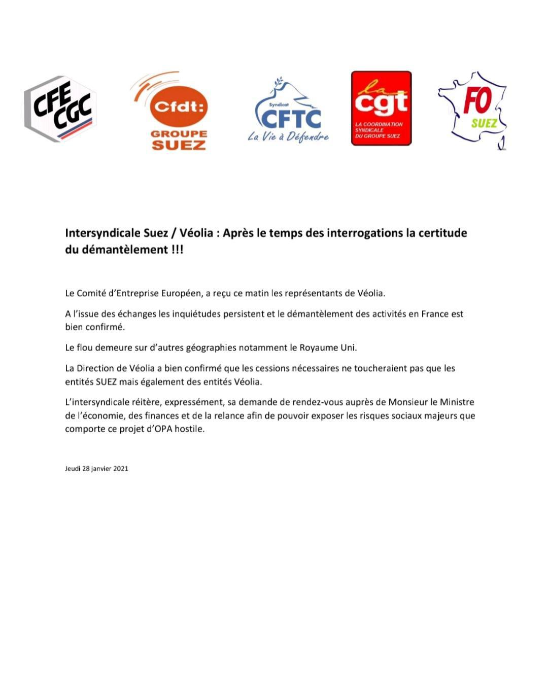 Intersyndicale Suez / Véolia : Après le temps des interrogations la certitude du démantèlement !!!