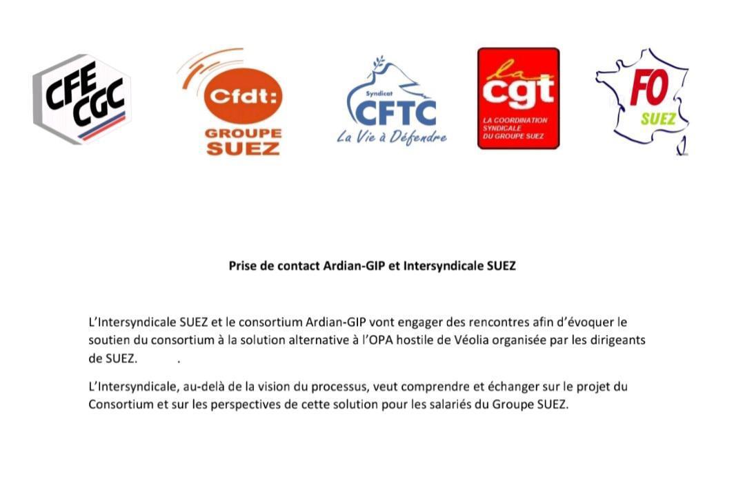 Prise de contact Ardian-GIP et Intersyndicale SUEZ!