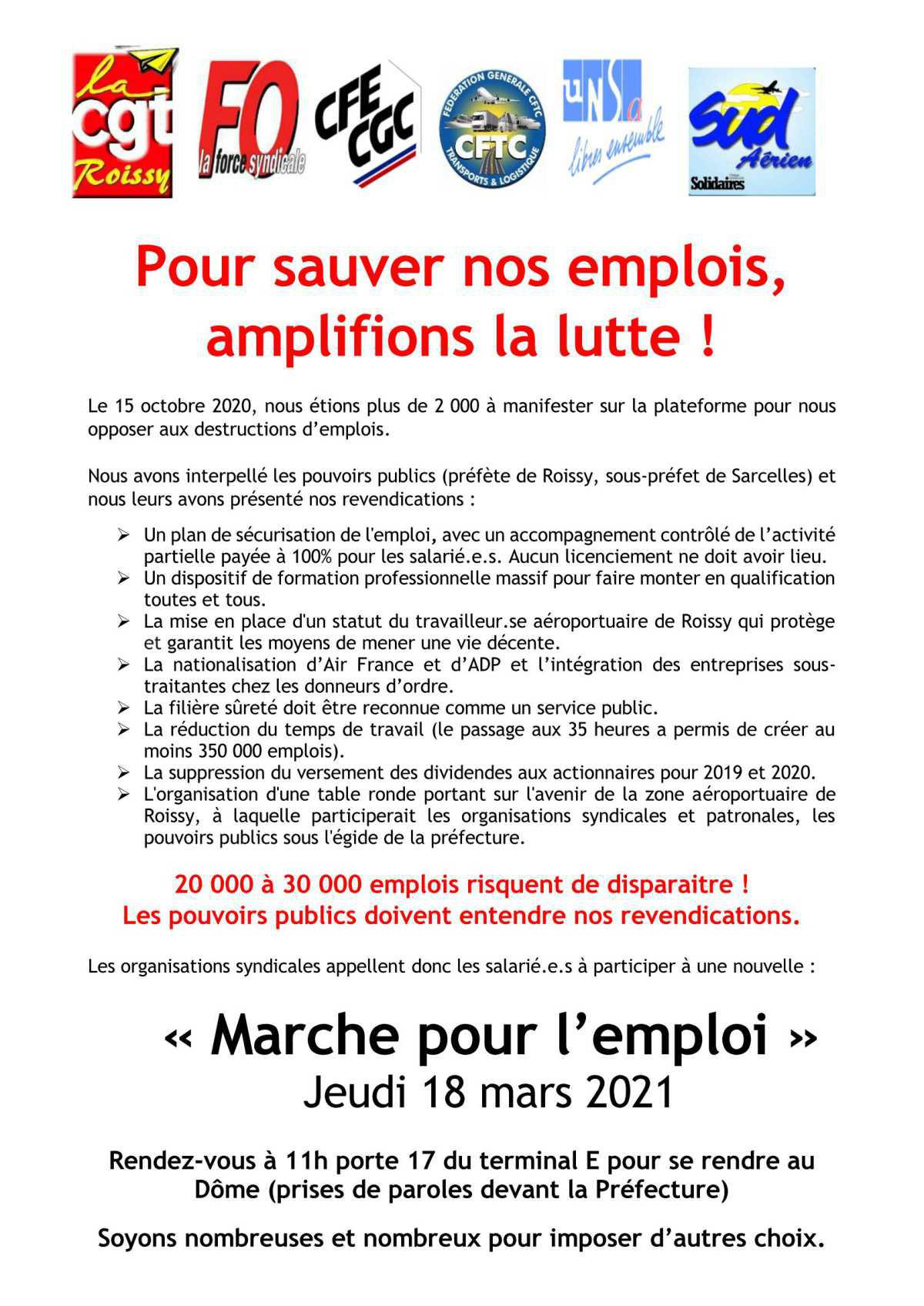 « Marche pour l'emploi » Jeudi 18 mars 2021.