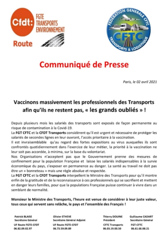 CDP/ Vaccinons massivement les professionnels des Transports...