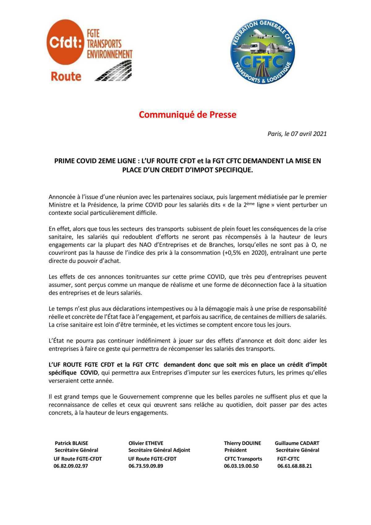 PRIME COVID 2EME LIGNE : La FGT CFTC et l''UF ROUTE CFDT DEMANDENT LA MISE EN PLACE D'UN CREDIT D'IMPOT SPECIFIQUE.