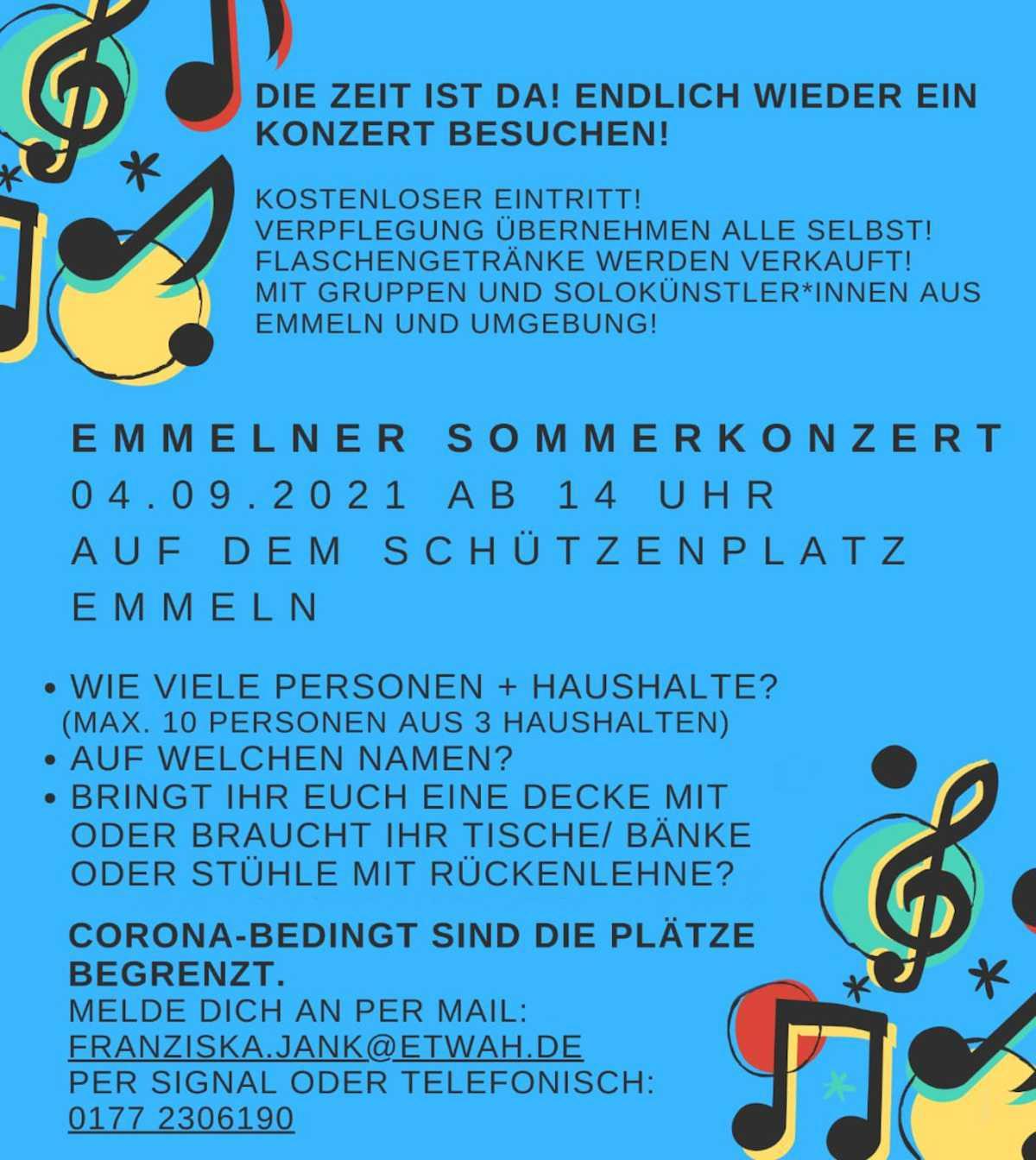 Emmelner Sommerkonzert am 04. September