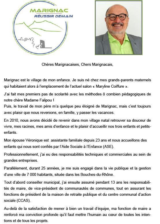 """Tract """"MARIGNAC Réussir Demain"""""""