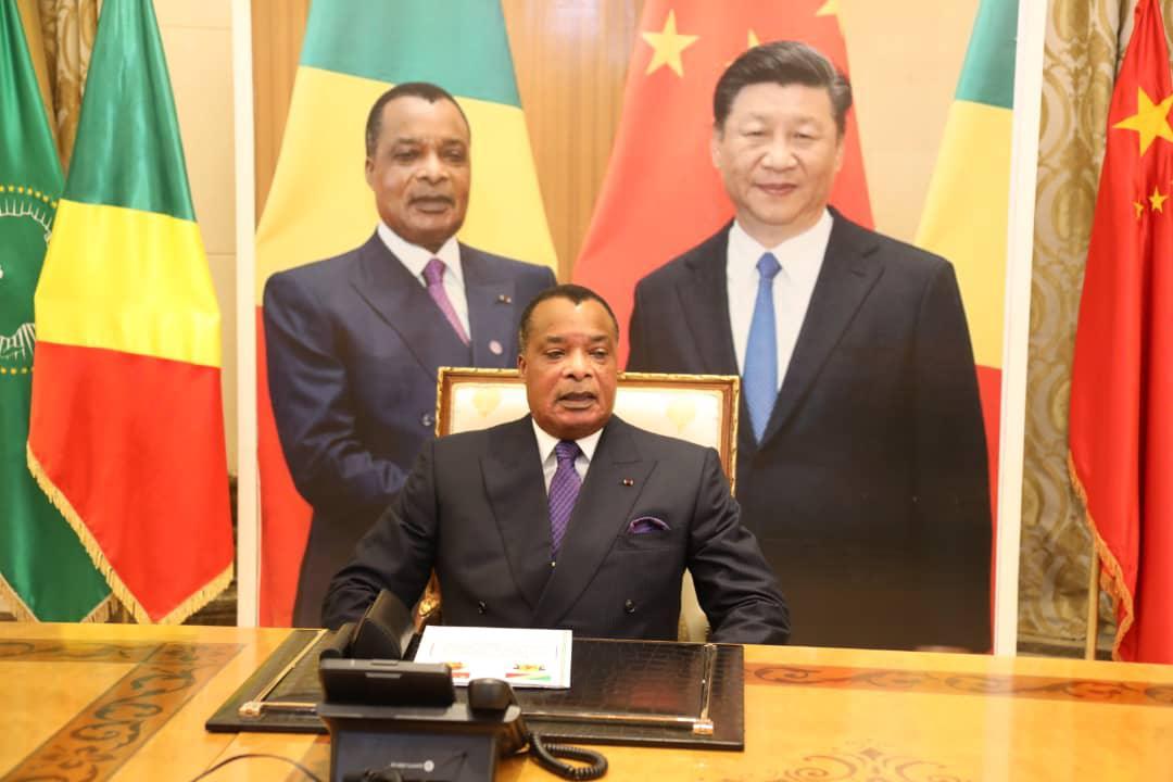 Denis #Sassou NGuesso et Xi Jinping en conférence téléphonique