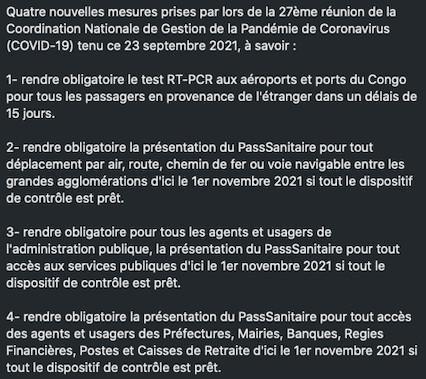 #Covid-19. Vers l'obligation de vaccination pour les citoyens congolais