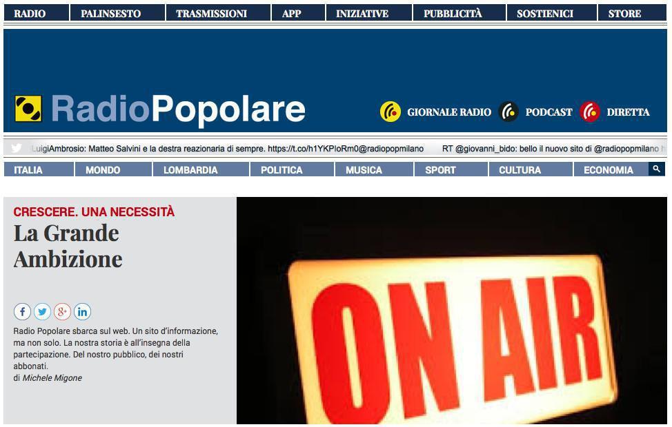 Il nuovo sito web di Radio Popolare