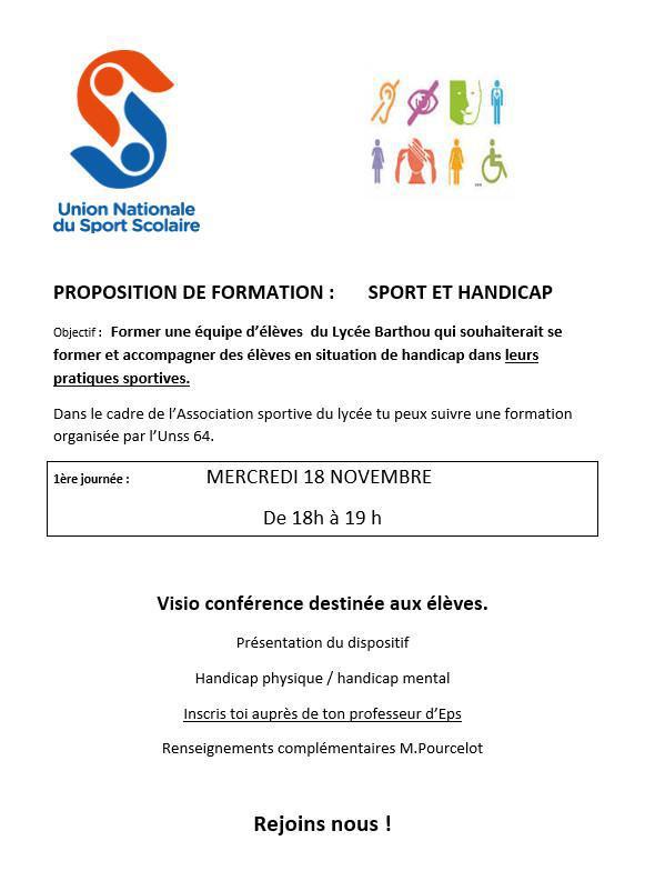 """Inscriptions à la formation UNSS """"Sport et handicap"""""""