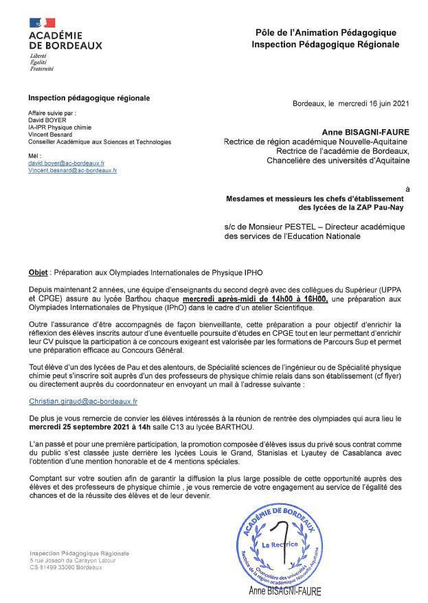 Réunion de rentrée des Olympiades Internationales de Physique (IPhO), le mercredi 22 septembre 2021