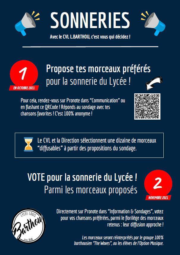 CVL L. Barthou - Vote pour les sonneries du lycée !