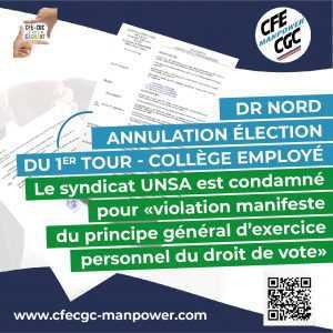 DR NORD : Annulation élection du 1er Tour – Collège Employé