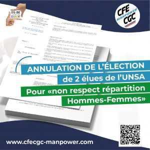 Annulation de l'élection de 2 Elues UNSA pour « Non respect répartition Hommes-Femmes »