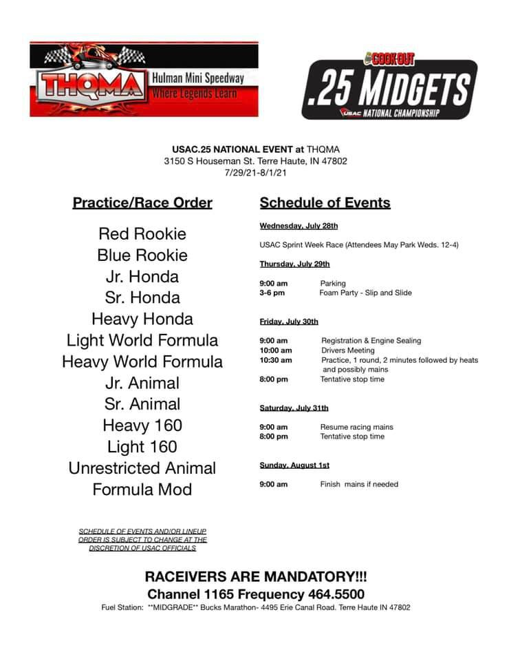 USAC.25 GEARS UP FOR TERRE HAUTE –Important Info