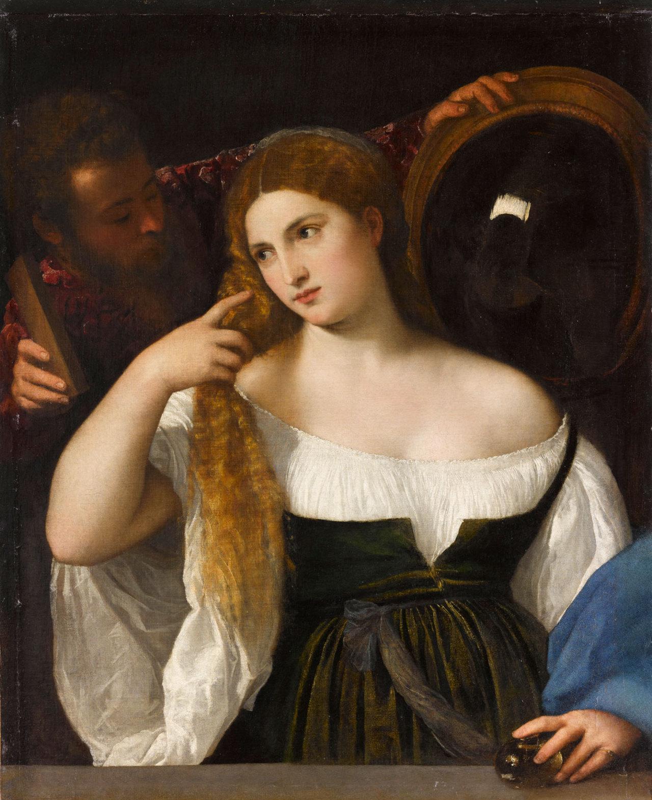 Portrait d'une femme à sa toilette