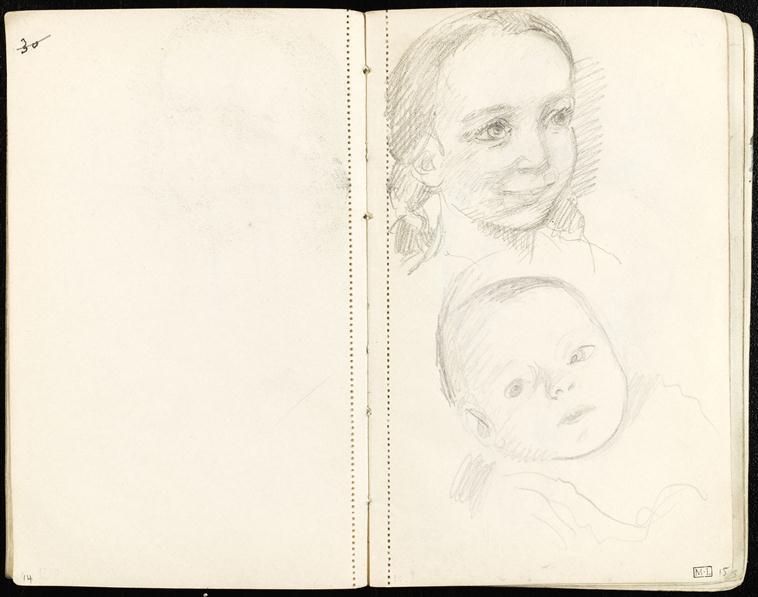 Portrait de fillette, visage d'un nouveau-né
