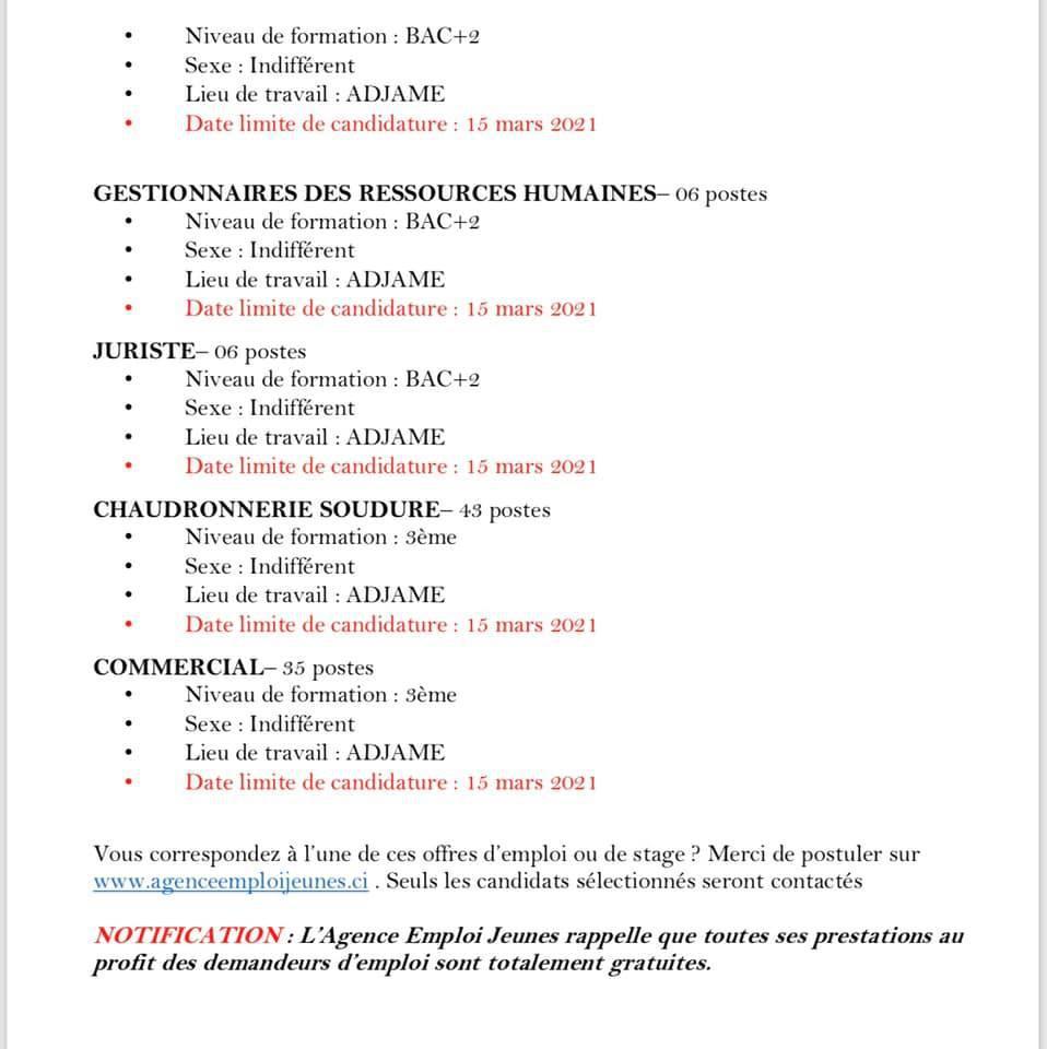Offres d'emploi / Emploi Jeune - Mars 2021