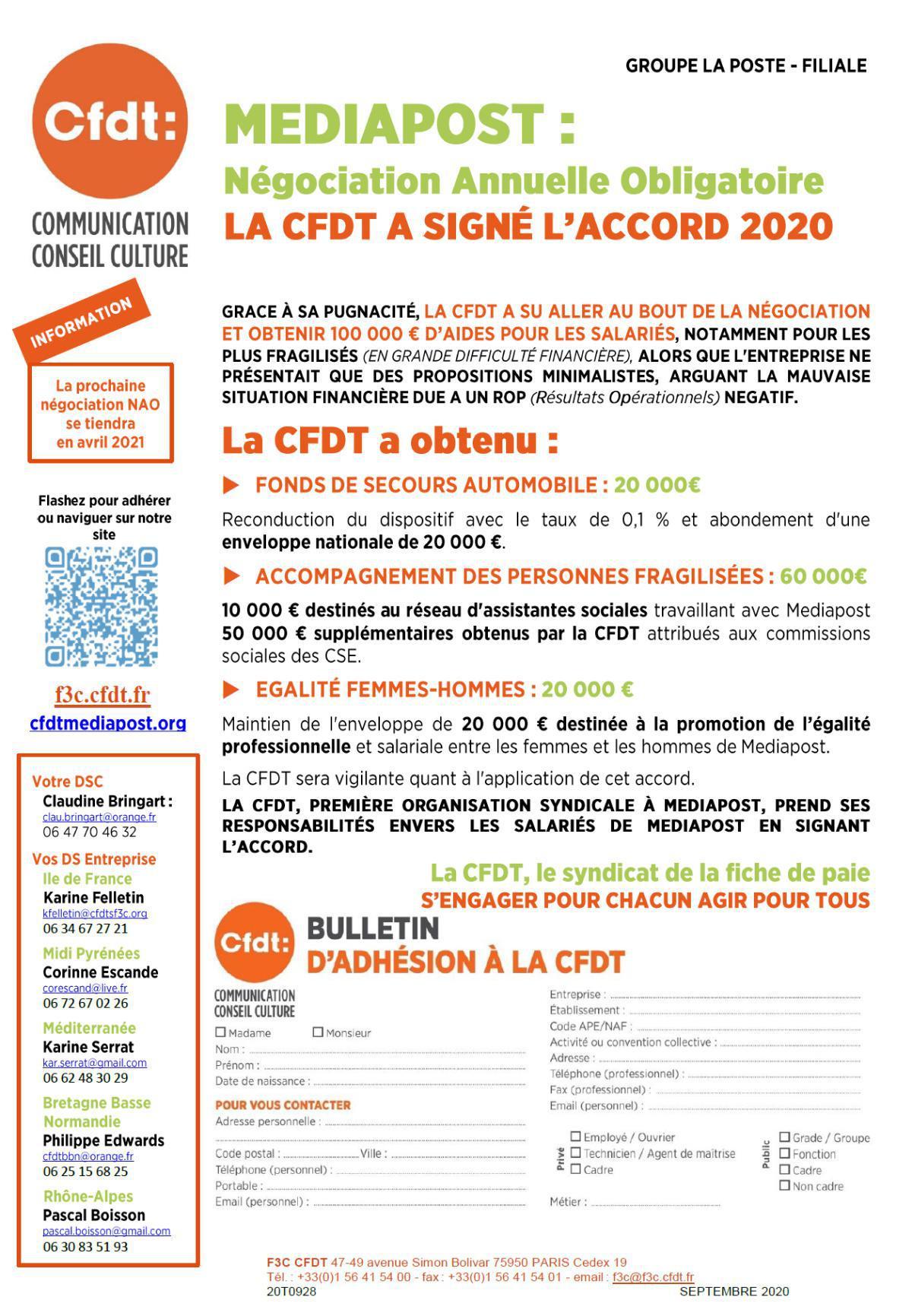 Mediapost : Négociation Annuelle Obligatoire, la CFDT signe l'accord 2020