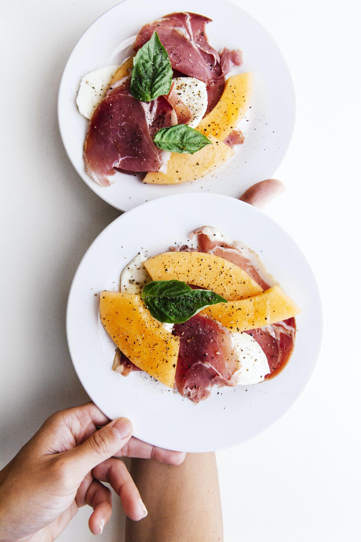 Melon and Watermelon Salad with Country Ham