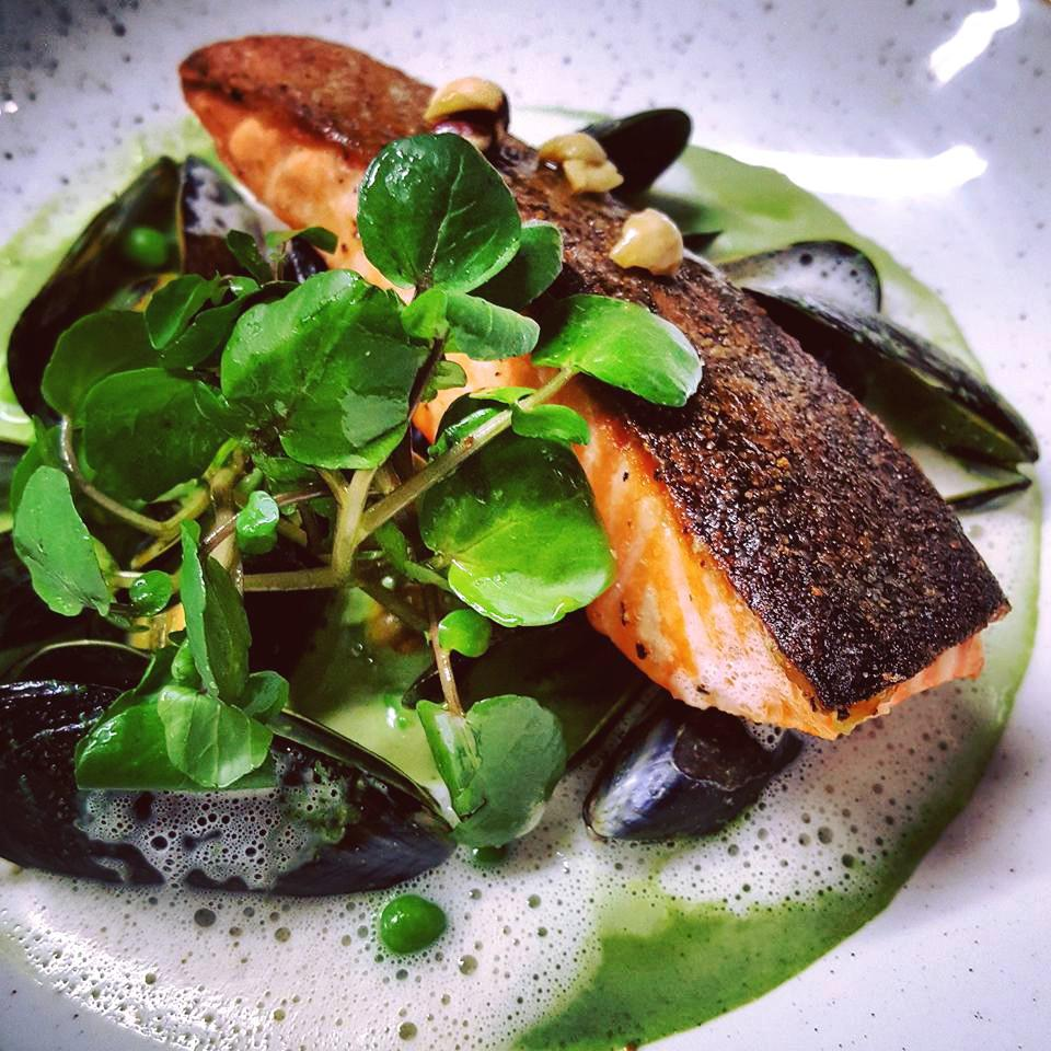 Pan-fried salmon, mussle and watercress velouté