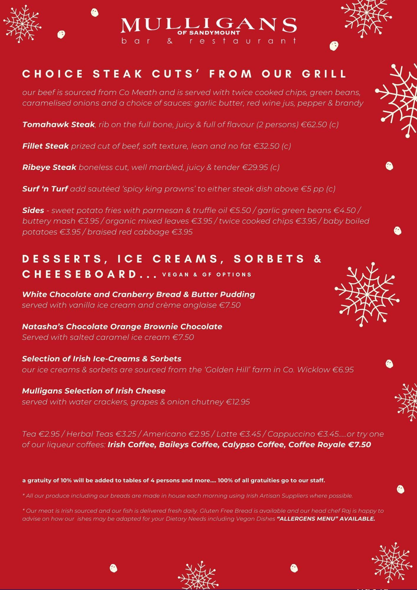 Christmas Bar & Restaurant Menu (Black)