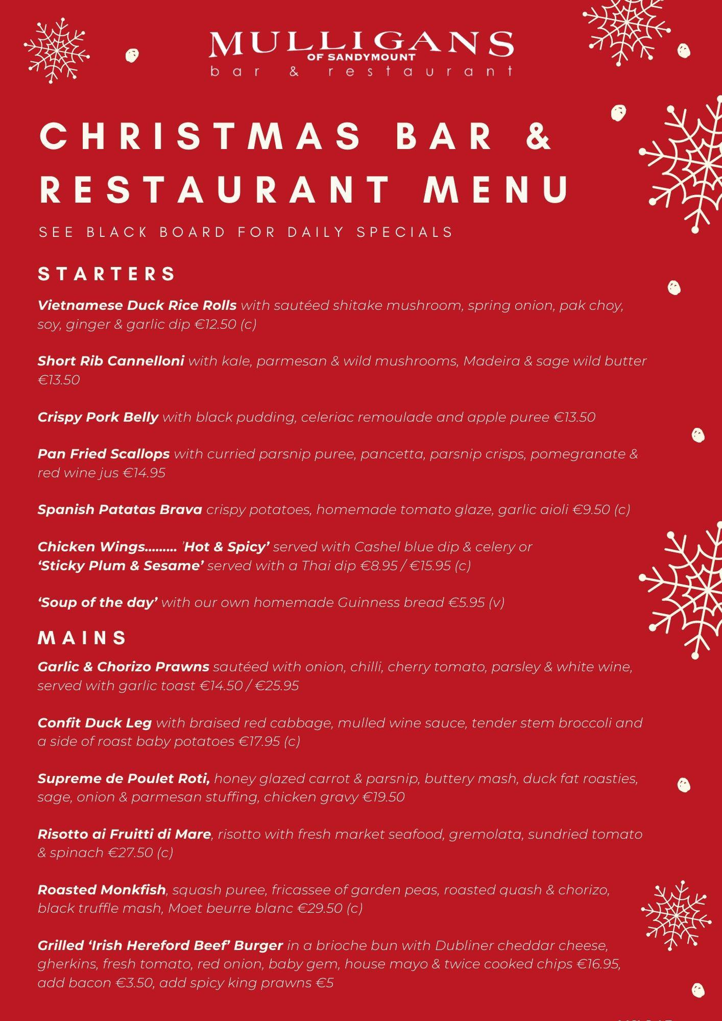 Christmas Bar & Restaurant Menu (Front)