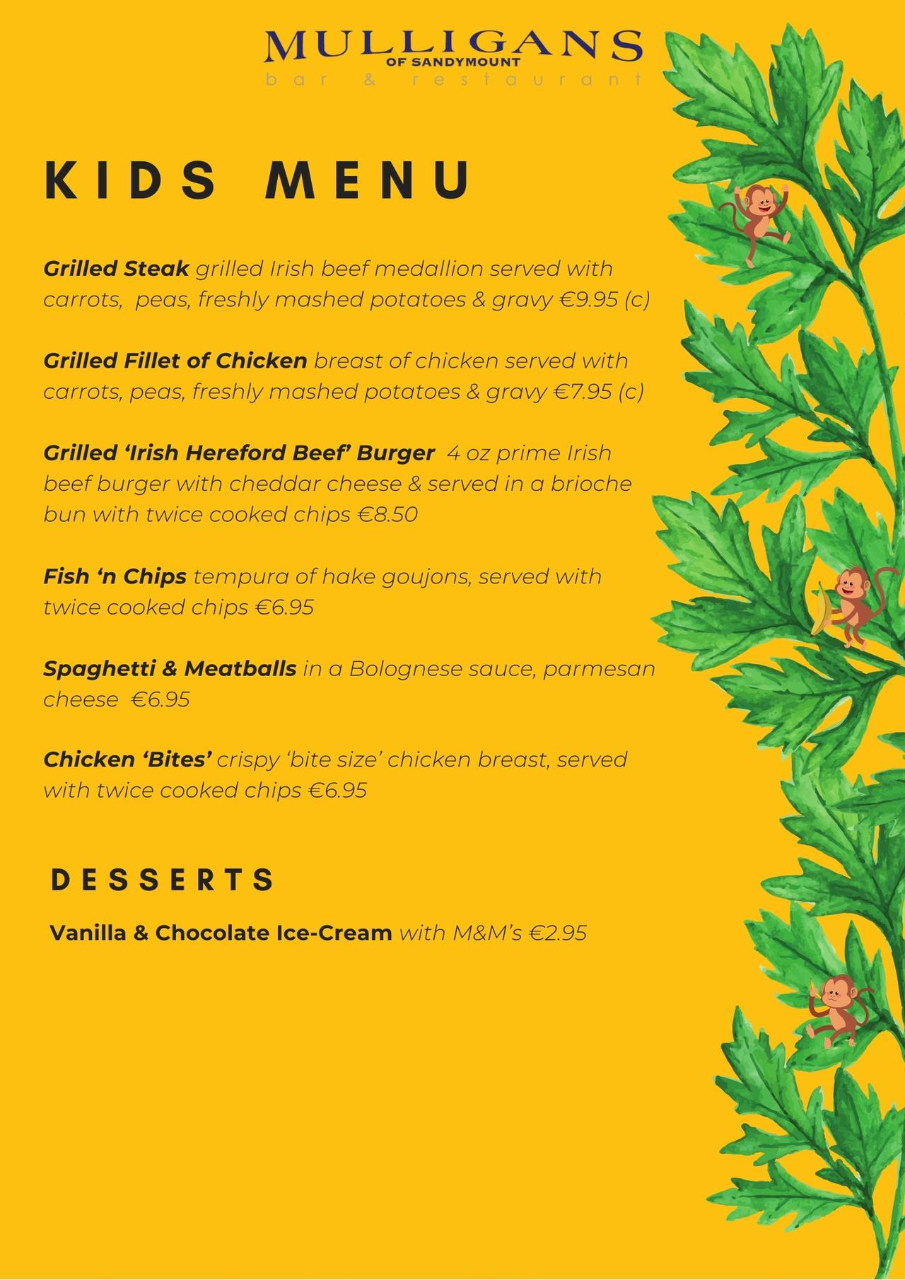 New Kids Menu