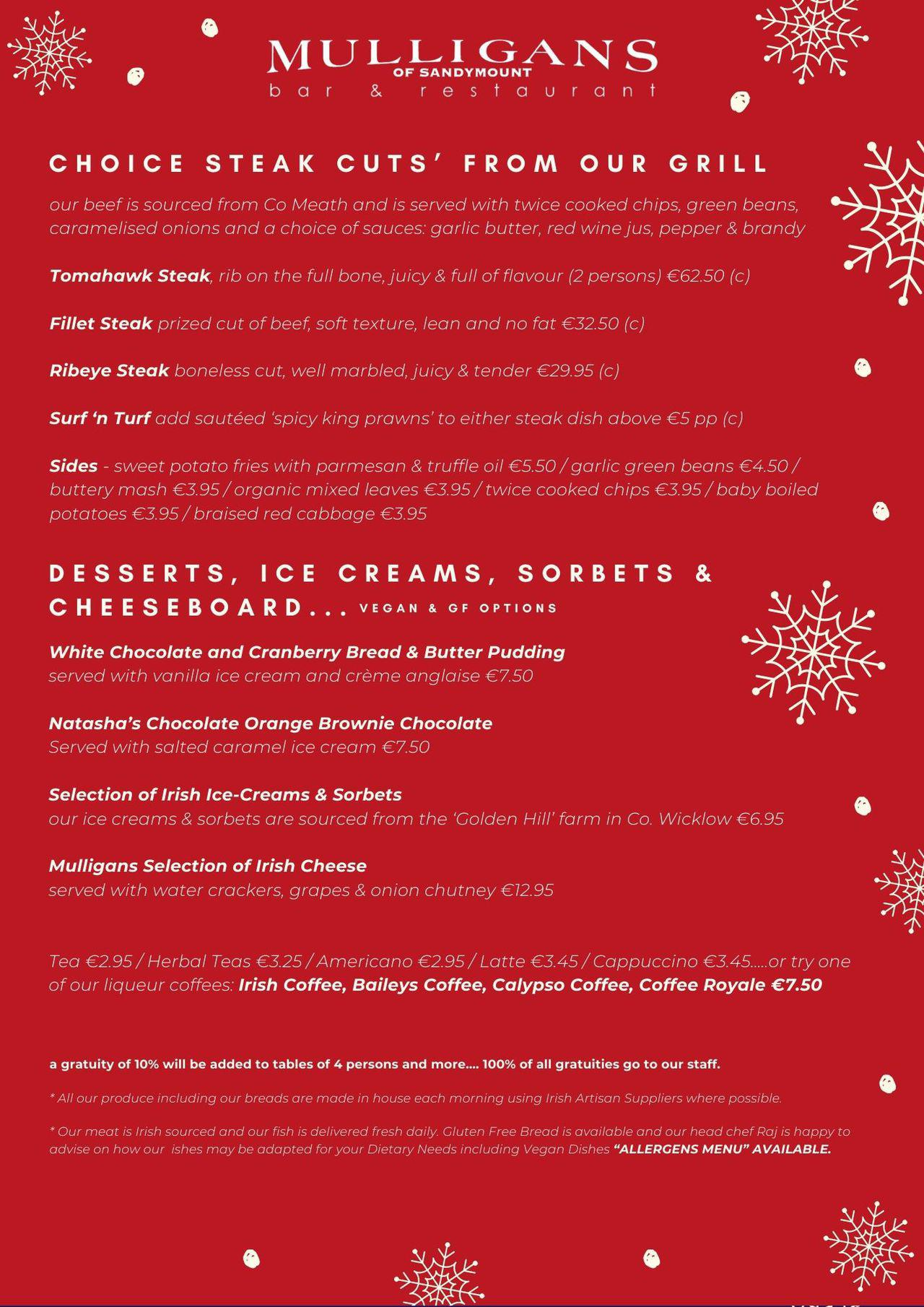 Christmas Bar & Restaurant Menu (Black)