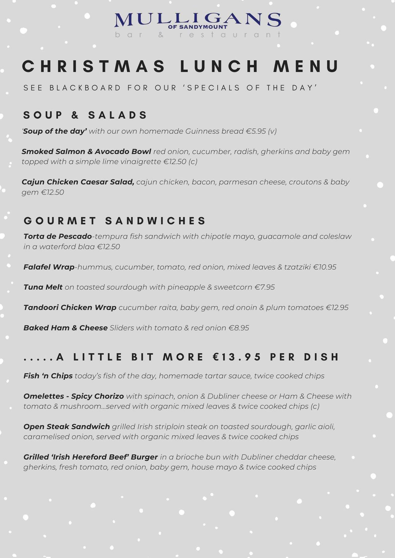 Christmas Lunch Menu (Front)