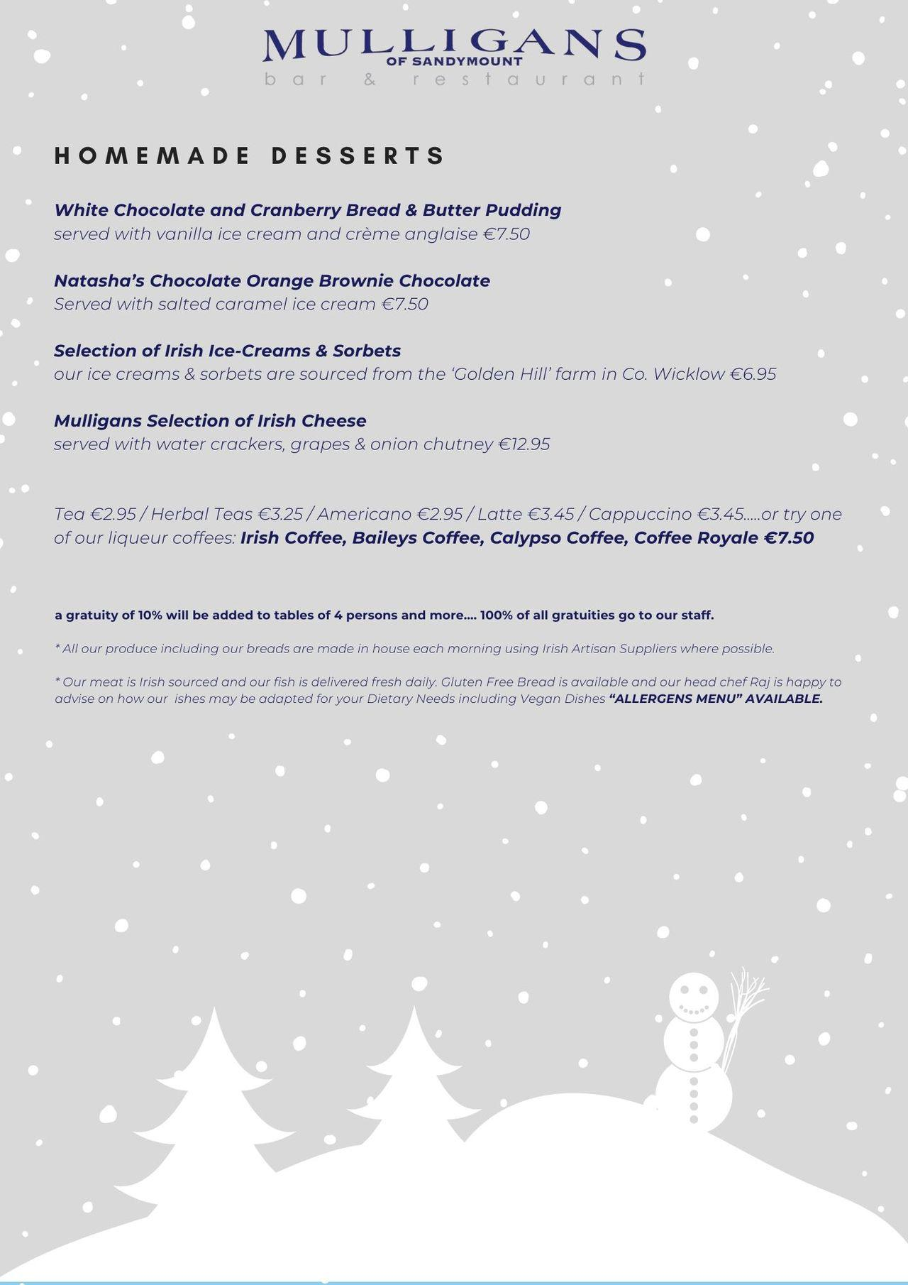 Christmas Lunch Menu (Back)
