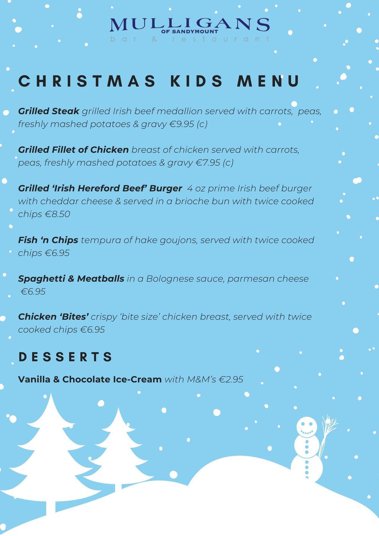 Christmas Kids Menu