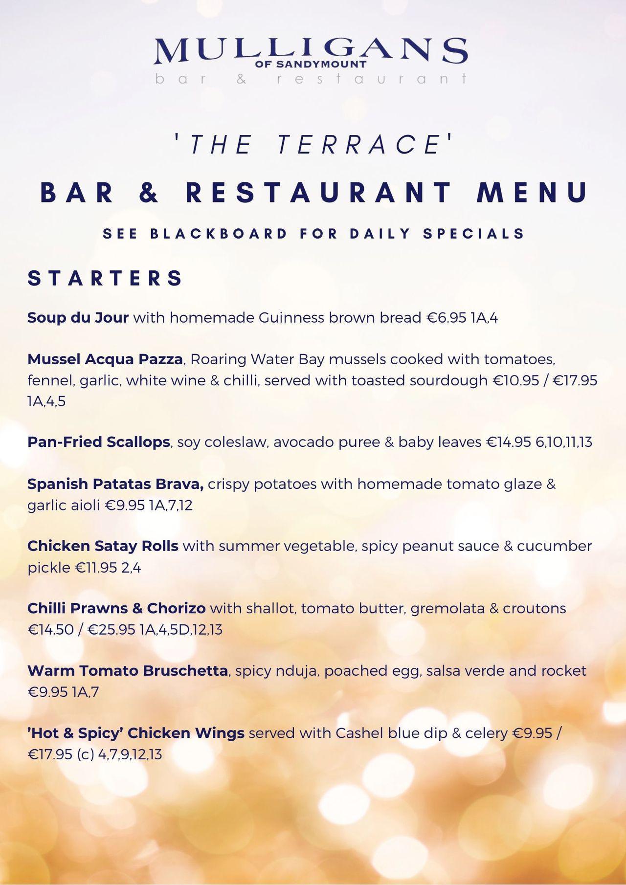 Bar & Restaurant Menu