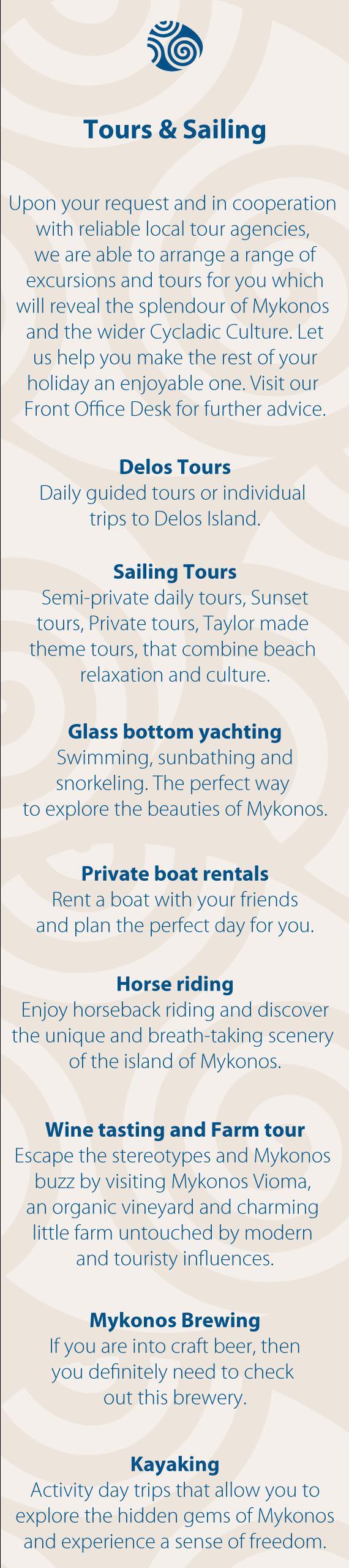 Tours & Sailing