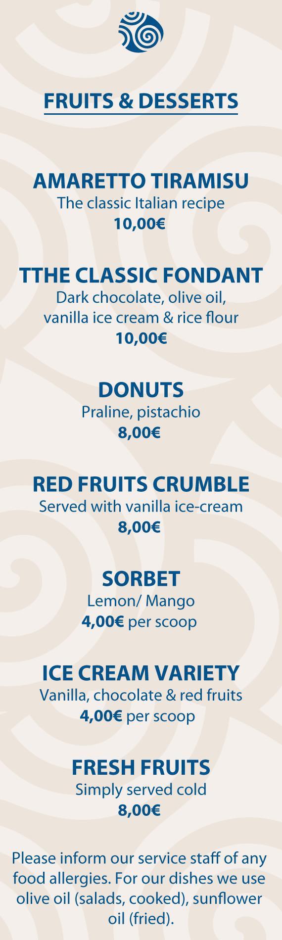 Fruits & Desserts