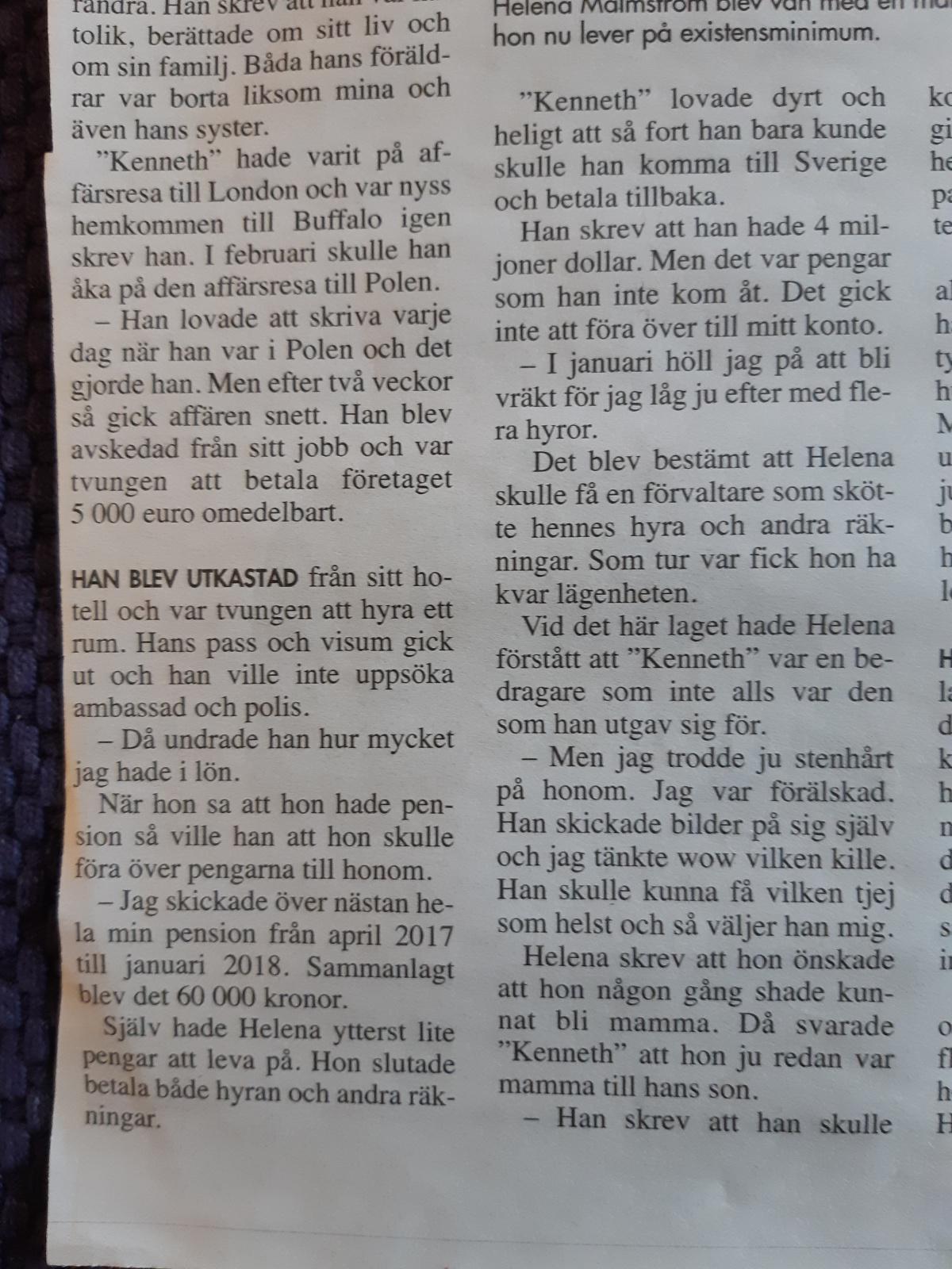 Tidningsartiklar från Stenungsundstidningen, Expressen, Hemmets Journal, Göteborgsposten och Tranås-Posten