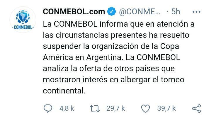 La Copa America ne se jouera pas en Argentine
