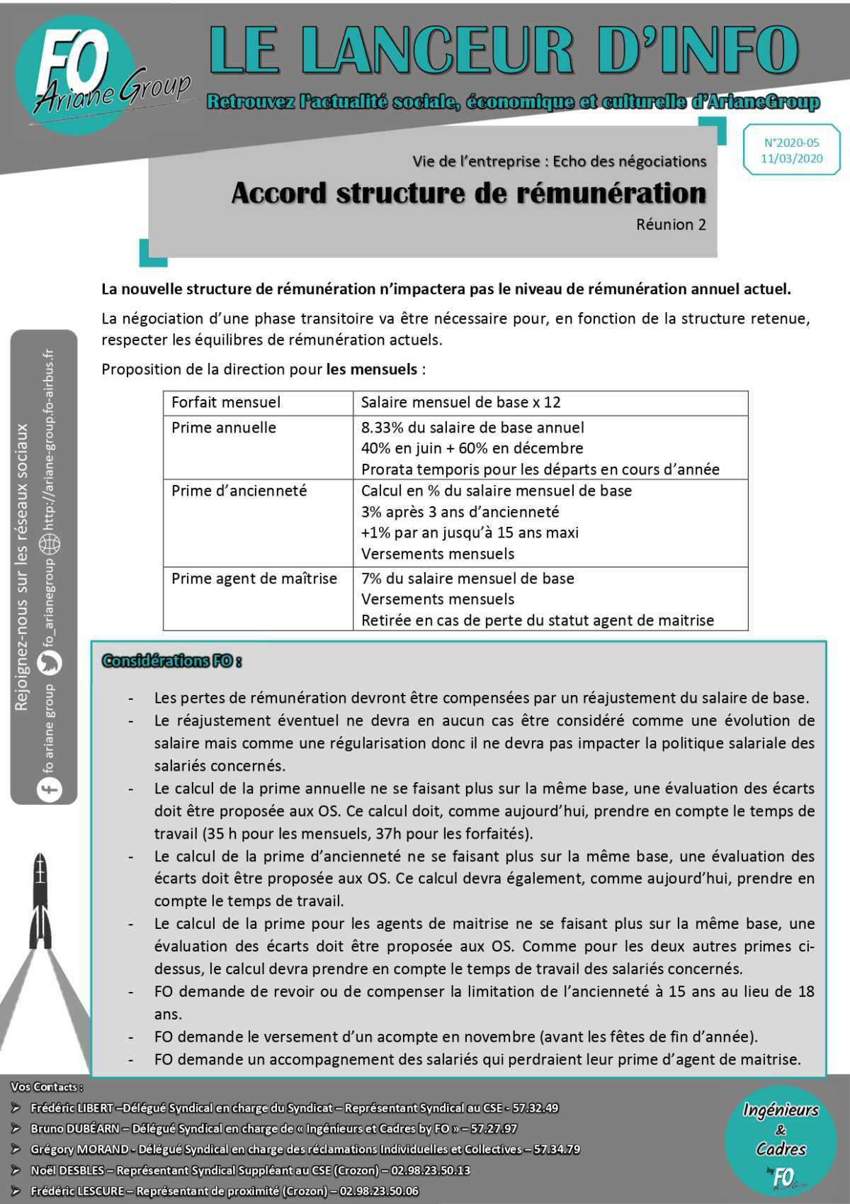 Accord structure de rémunération