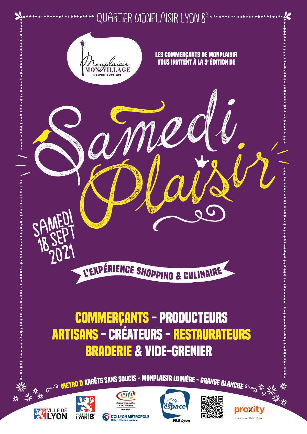 La 5ème édition de Samedi Plaisir revient le 18/09 !
