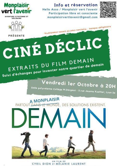 01/10 - Ciné déclic Monplaisir Vert l'Avenir - Projection d'extraits du film DEMAIN