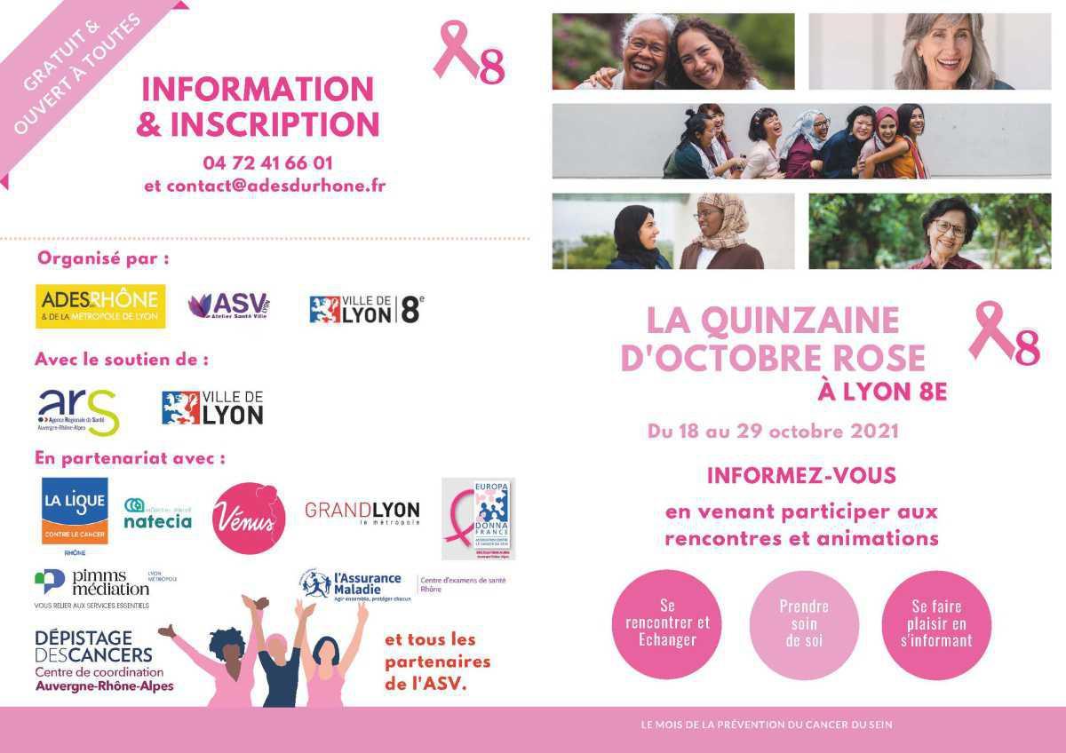 Du 18 au 29/10 : la quinzaine d'octobre rose à Lyon 8e !
