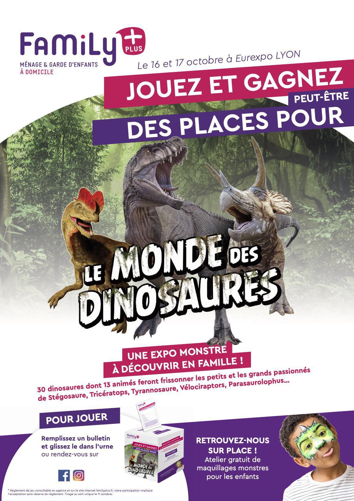 """Jeu concours Family + : 4 places à gagner pour """"Le Monde des Dinosaures"""""""