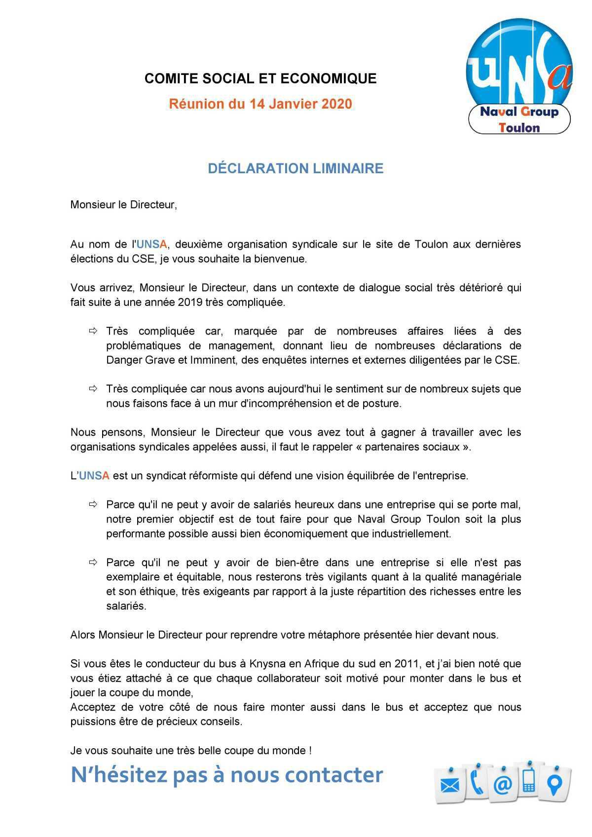 Réunion du 14 janvier 2020 - Déclaration Liminaire