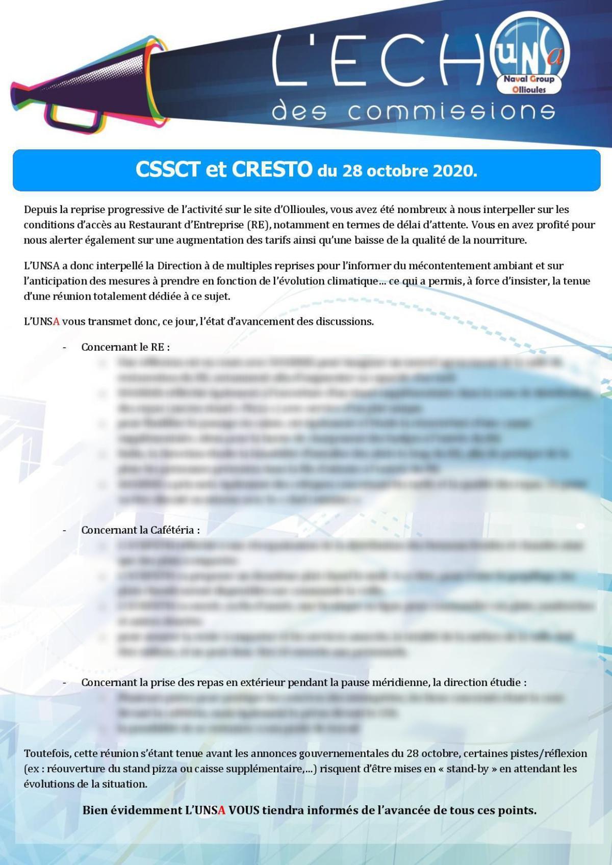 Réunion CSSCT/CRESTO du 28 octobre 2020 sur la restauration