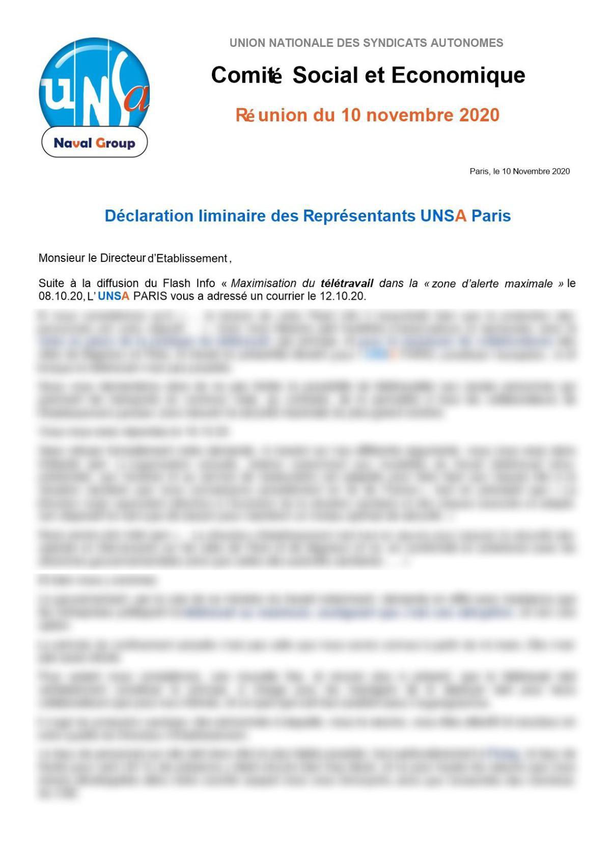 Déclaration liminaire des représentants UNSA Paris