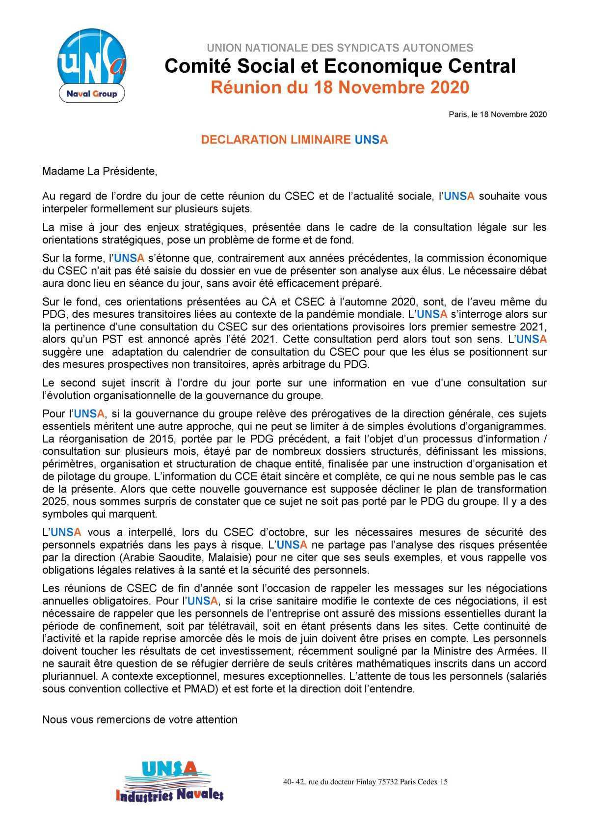 Réunion du 18 novembre 2020 - déclaration liminaire