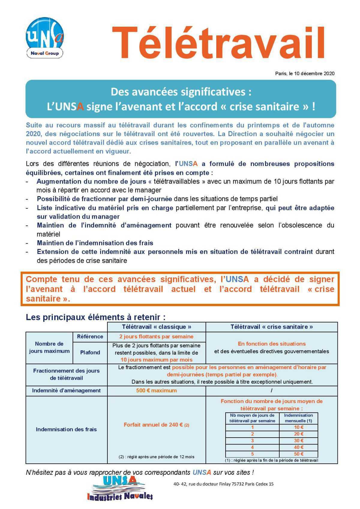 Télétravail : Des avancées significatives : L'UNSA signe l'avenant et l'accord « crise sanitaire » !